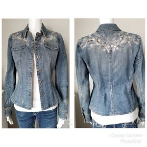 ELIE TAHARI fit embellished denim jacket